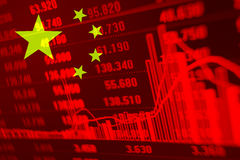 Stock Diagram with Flag of China Stock Photos