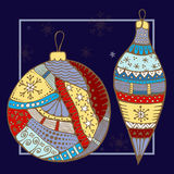 Stock  doodle christmas pattern with boll, star and snowfl. Akes. ill Royalty Free Stock Photos