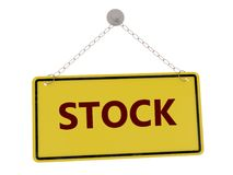 Stock sign. Stock door sign with chain isolated on white background ,3d rendered Stock Photo