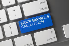 Stock Earnings Calculation Button. 3d. Stock Earnings Calculation Concept Computer Keyboard with Stock Earnings Calculation on Blue Enter Button Background Stock Photos