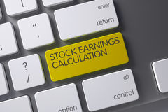 Stock Earnings Calculation Key. 3D. Stock Earnings Calculation Concept Laptop Keyboard with Stock Earnings Calculation on Yellow Enter Key Background, Selected Stock Photography