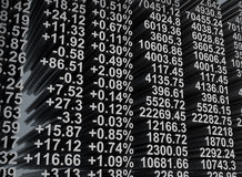 Stock exchange. Share prices quoted. Real time quotes at the stock exchange. High resolution image Royalty Free Stock Photo
