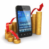 Stock exchange application on mobile and graph from coins. 3d Stock Photo