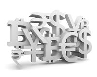 Stock exchange background. Currency symbols collage relative to trading. 3D rendering Stock Images