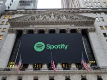 Stock Exchange. Banner on the New York Stock Exchange announcing the IPO of the streaming music service Spotify royalty free stock photography