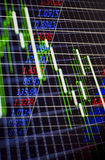 Stock exchange or bourse. Electronic digital interface at a stock exchange or bourse showing the fluctuating prices of stocks and shares on the markets charting Royalty Free Stock Photo