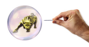 Stock Exchange Bubble about to explode by a needle Stock Photography