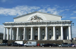 Stock exchange building and cars Saint Peterburg Stock Photography