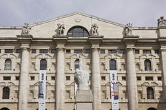 Stock exchange building in Piazza Affari, Milan Stock Photography