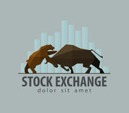 Stock exchange, business, finance. vector. flat. Stock exchange symbol - the bull and the bear. vector. flat illustration Royalty Free Stock Photography