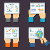 Stock exchange business technology. Internet trading and investment flat vector icons. Stock investment finance and illustration with data about stock exchange Stock Image
