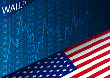 Stock exchange chart and american flag. Data analyzing in trading market on Wall Street. Stock Photos