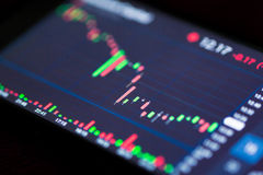 Stock Exchange Chart on Smart Phone. Business and trading finance contept. Stock exchange market chart view on smart phone screen Royalty Free Stock Photos