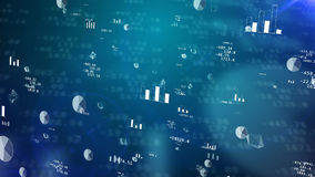 Stock exchange charts with glittering graphs Stock Image