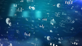 Stock exchange charts with shimmering charts. Professional 3D illustration of stock exchange profit with glittering pie charts, histograms, bar charts, decimal Royalty Free Stock Photography