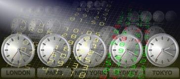 Stock exchange clocks Royalty Free Stock Photos