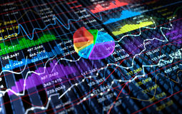 Stock Exchange 3D Graph background,. 3D illustration Royalty Free Stock Images