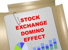 Stock Exchange Domino Effect concept. 3D illustration of STOCK EXCHANGE DOMINO EFFECT title on business document Stock Image
