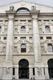 Stock-exchange entrance, milan. View of monumental stock-exchange building in city center Royalty Free Stock Photo
