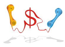 Stock Exchange And Financial Consulting. Two phone receiver with dollar symbol grown from the cord Royalty Free Stock Photo