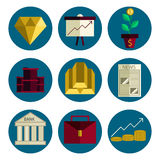 Stock exchange flat icons set. Vector illustration, EPS 10 Stock Images
