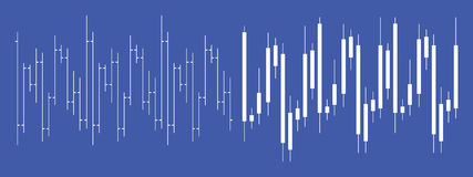 Stock exchange Forex candlestick chart. Linear candlestick chart useful for stock exchange or Forex market web banner or print, with blue background royalty free illustration