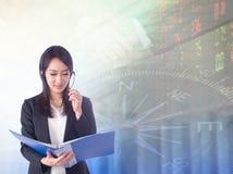 Stock exchange graph background. Businesswoman or stock broker ,stock exchange graph background Stock Image