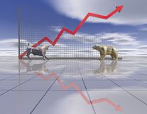 Stock exchange graph with bear and bull Royalty Free Stock Photo