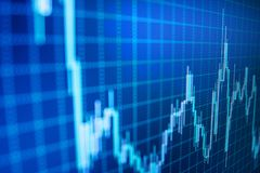 Stock exchange graph. Financial statistic analysis on dark background with growing financial charts. stock photo
