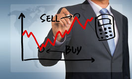 Stock exchange graph hand drawing by businessman Stock Images