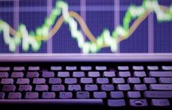 Stock exchange. Graph on laptop screen stock photo