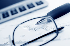 Stock exchange graphs analysis. Stock Images