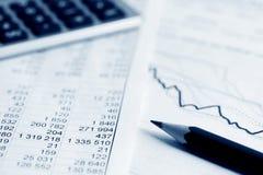Stock exchange graphs analysis. Stock Photo