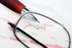 Stock exchange graphs analysis Stock Images