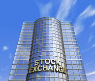 Stock exchange headquarter. One 3d render of a  skyscraper, headquarter of a stock exchange Stock Photography