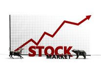 Stock exchange illustration with bull and bear isolated Stock Photos