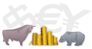 Stock exchange. Illustration of stock exchange symbols, bull and bear Royalty Free Stock Photos