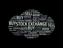 STOCK EXCHANGE - image with words associated with the topic STOCK EXCHANGE, word cloud, cube, letter, image, illustration. STOCK EXCHANGE - image with words Stock Images