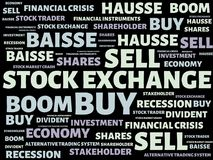 STOCK EXCHANGE - image with words associated with the topic STOCK EXCHANGE, word cloud, cube, letter, image, illustration. STOCK EXCHANGE - image with words Royalty Free Stock Photos