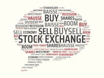 STOCK EXCHANGE - image with words associated with the topic STOCK EXCHANGE, word cloud, cube, letter, image, illustration Royalty Free Stock Images