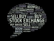 STOCK EXCHANGE - image with words associated with the topic STOCK EXCHANGE, word cloud, cube, letter, image, illustration Royalty Free Stock Image
