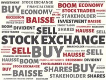 STOCK EXCHANGE - image with words associated with the topic STOCK EXCHANGE, word cloud, cube, letter, image, illustration Royalty Free Stock Photography