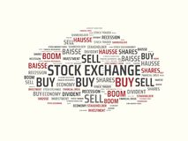 STOCK EXCHANGE - image with words associated with the topic STOCK EXCHANGE, word cloud, cube, letter, image, illustration Royalty Free Stock Photos