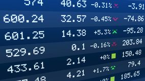 Stock exchange indices rise and drop on ticker display, securities market data. Stock image Royalty Free Stock Photography