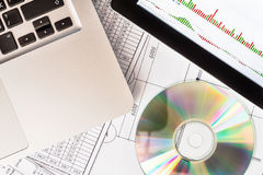 Stock exchange indices, a tablet and a laptop Royalty Free Stock Image
