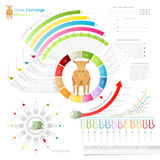 Stock exchange info graphic. Stock exchange infographic with bull.business template.diagram, number options, web design, months Stock Images