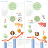 Stock exchange infographic with bull bear infographic Royalty Free Stock Photo