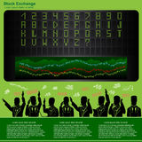 Stock exchange infographic with runoff scoreboard and sample of letter and numbers alphabet Royalty Free Stock Photography