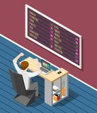 Stock Exchange Isometric Background. Stock exchange background with broker looking for stock market quotes on display isometric vector illustration Stock Photo
