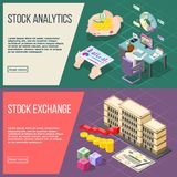 Stock Exchange Isometric Banners. Stock analysis and stock exchange horizontal banners with working broker and exchange building isometric compositions vector Royalty Free Stock Images